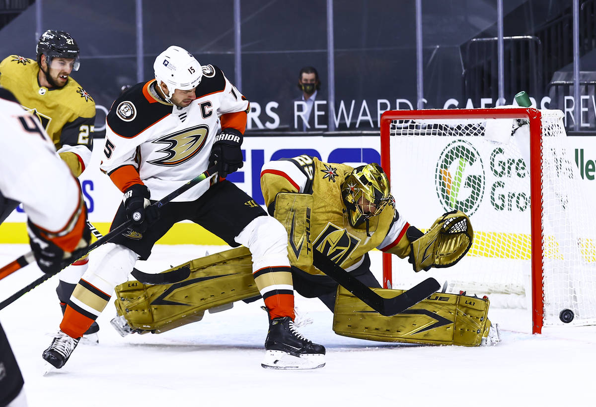 Golden Knights goaltender Marc-Andre Fleury (29) blocks the puck in front of Anaheim Ducks cent ...