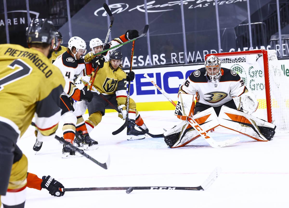 Anaheim Ducks center Rickard Rakell, not pictured, blocks the puck in front of Golden Knights d ...