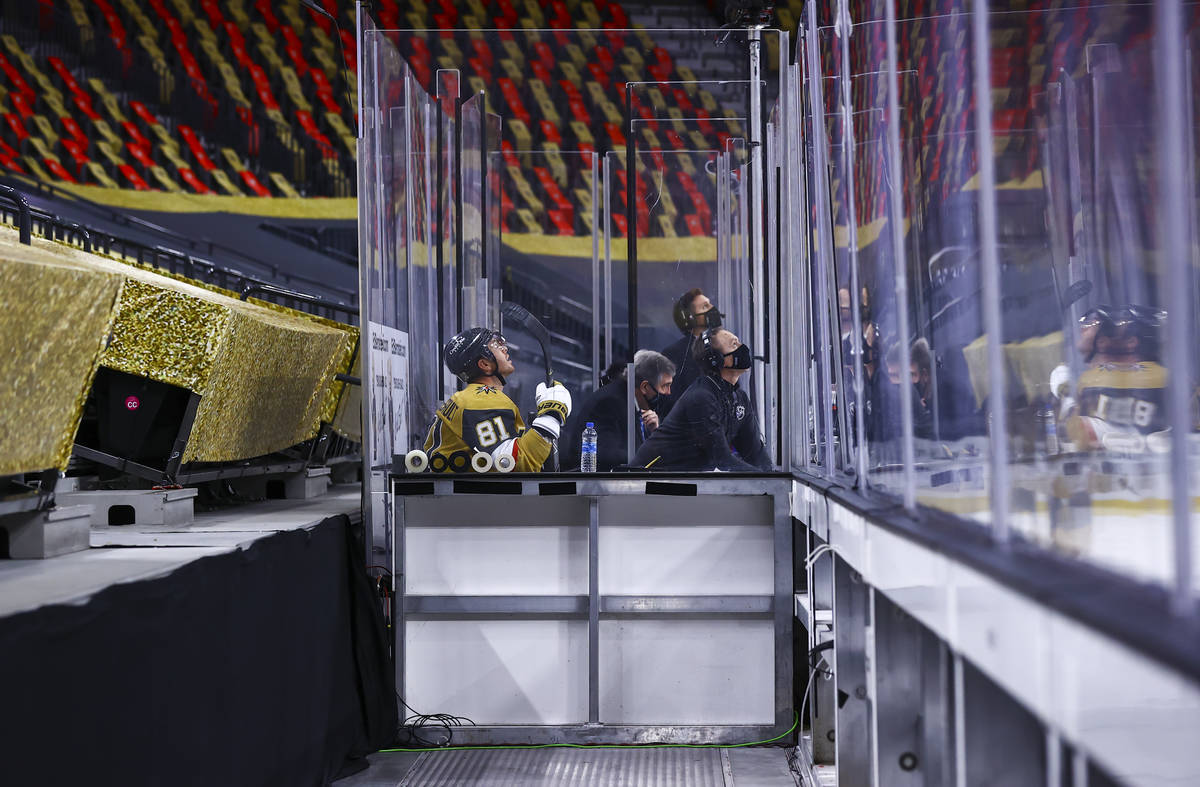 Golden Knights center Jonathan Marchessault (81) sits in the penalty box during the second peri ...