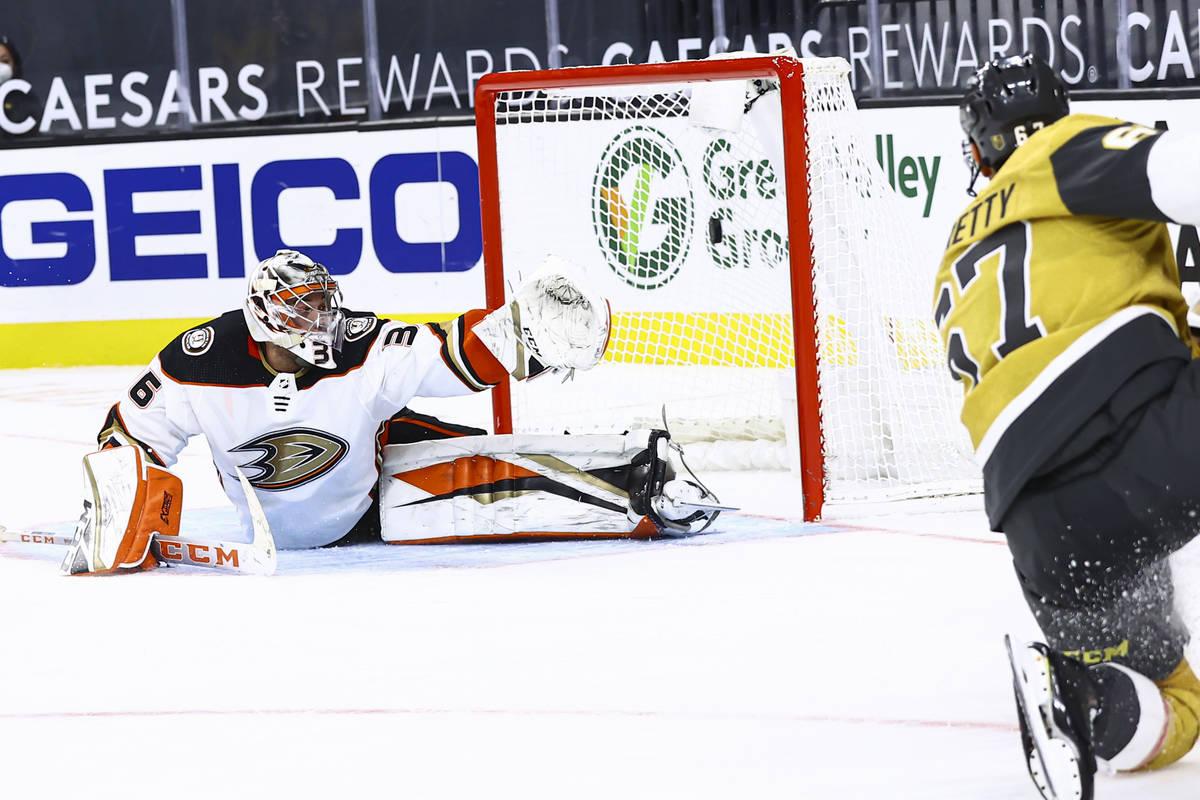 Golden Knights left wing Max Pacioretty (67) scores past Anaheim Ducks goaltender John Gibson ( ...