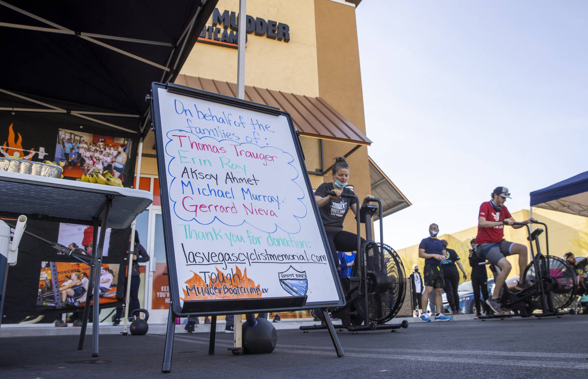 Tough Mudder Bootcamp Las Vegas members pedal 96 miles on stationary bikes as a fundraiser to t ...