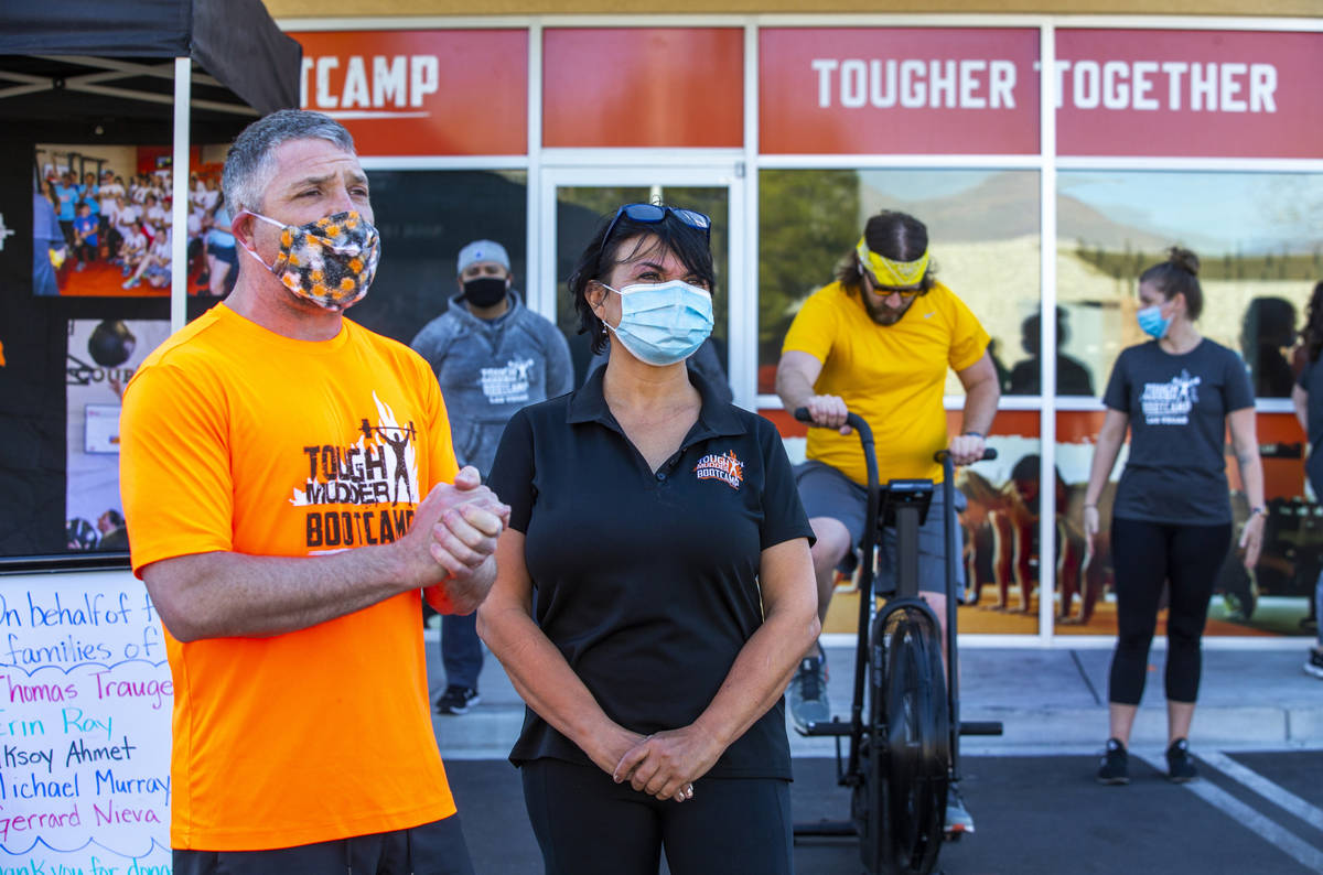 Co-owners Cory Drumright, left, and Alona Burns welcomes all as Tough Mudder Bootcamp Las Vegas ...