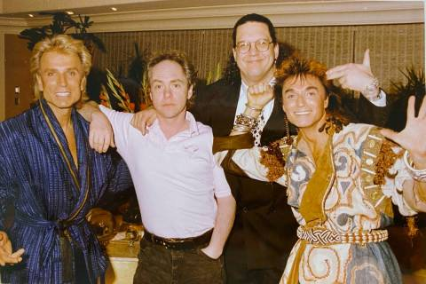 Siegried Fischbacher, Teller, Penn Jillette and Roy Horn are shown backstage at The Mirage in 1 ...
