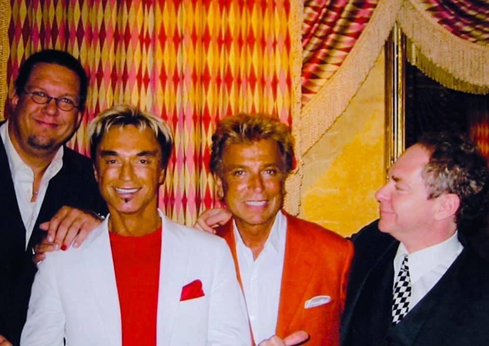 Penn Jillette, Roy Horn, Siegfried Fischbacher and Teller are shown after a photo shoot at Bell ...