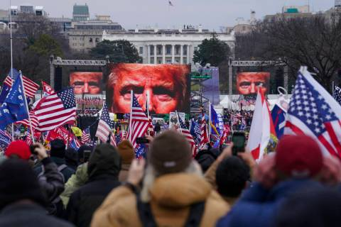 FILE - In this Jan. 6, 2021 file photo, Trump supporters participate in a rally in Washington. ...
