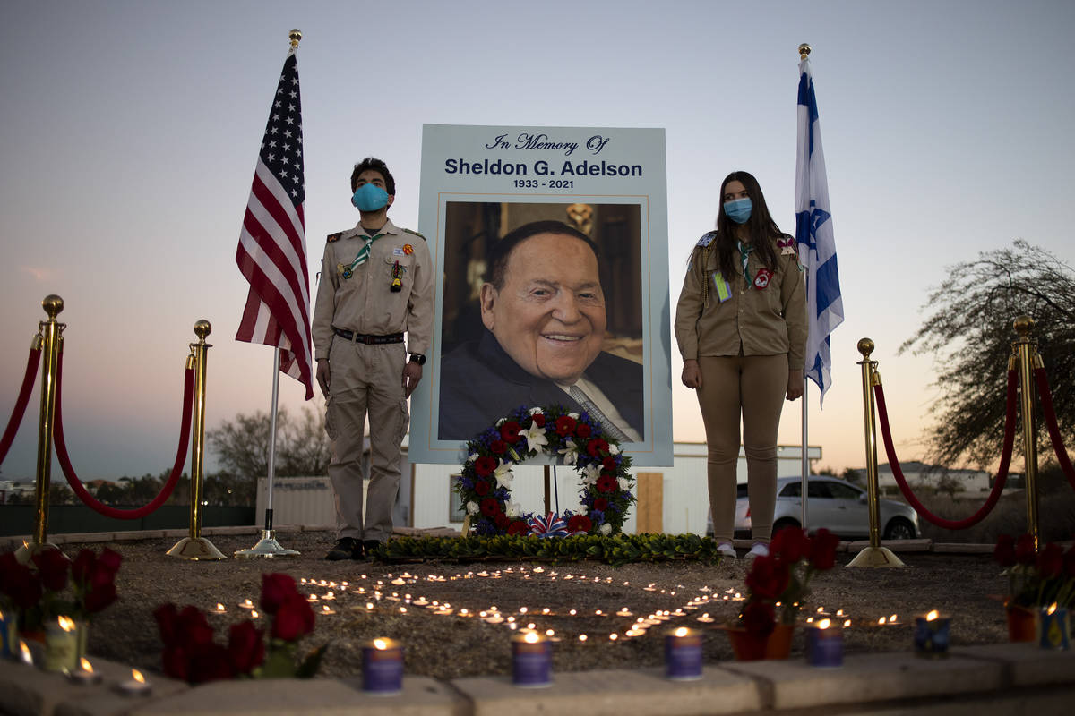 A memorial for Sheldon Adelson is set up for members of the Jewish community to pay their respe ...