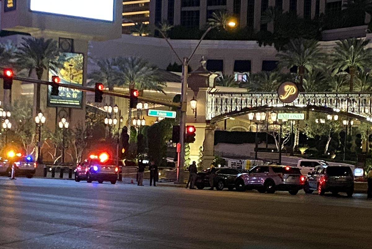 Las Vegas police vehicles on the Strip early Monday, Jan. 18, 2021, as officers investigate a s ...