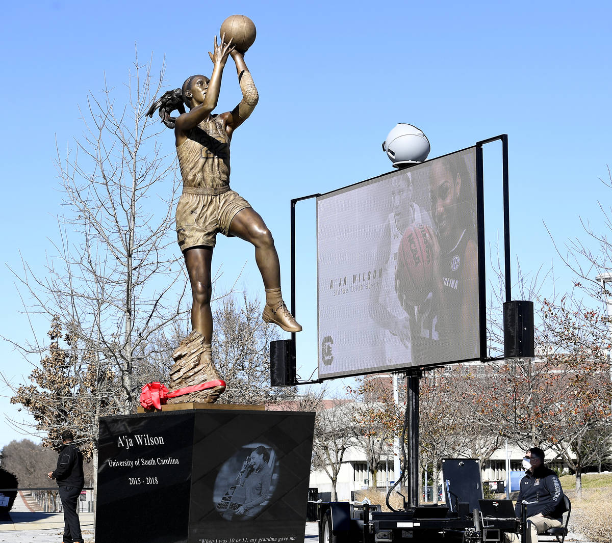 Aces star A'ja Wilson had a bronze sculpture of her unveiled in a ceremony Monday at South Ca ...