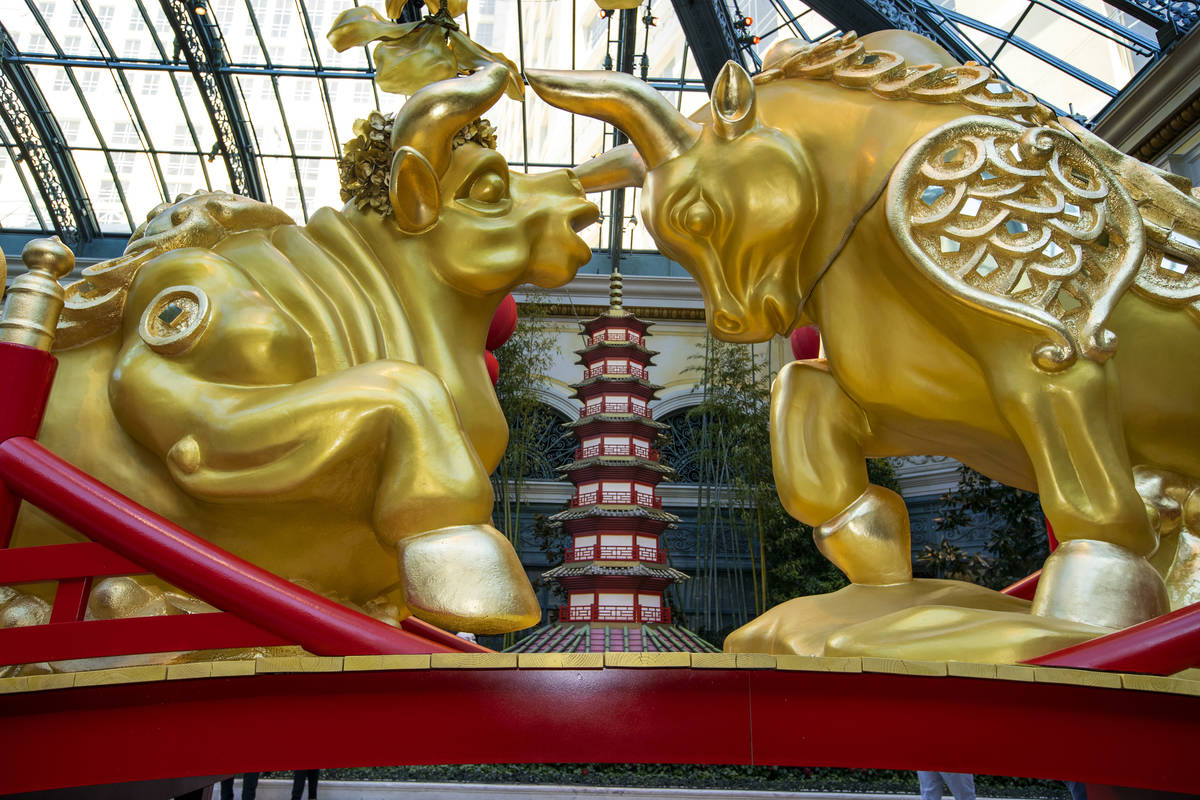 A golden ox couple looks at each other lovingly as the Bellagio Conservatory & Botanical Garden ...