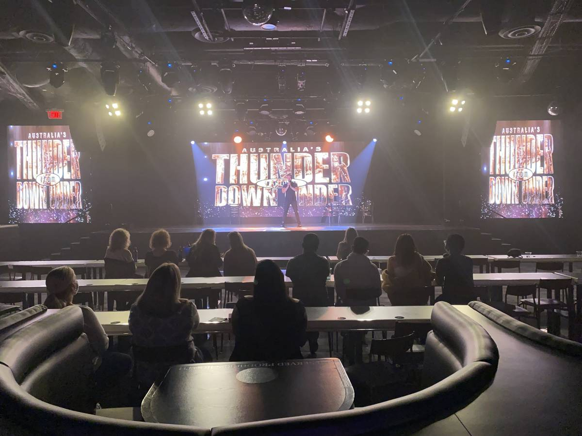 The audience is shown during the return of Thunder From Down Under at Thunderland Showroom on S ...