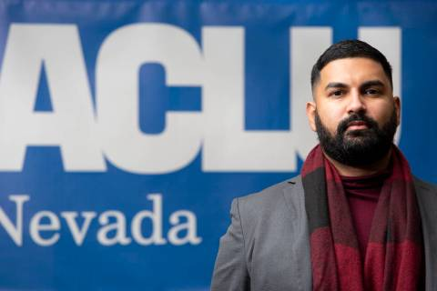 Athar Haseebullah, the new executive director of the ACLU of Nevada, poses for a portrait at th ...