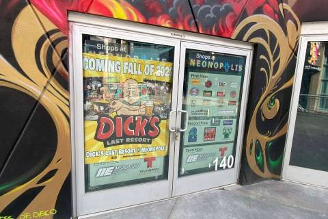 The entrance of what will be Dick's Last Resort at Neonopolis is shown on Tuesday, Jan. 19, 202 ...