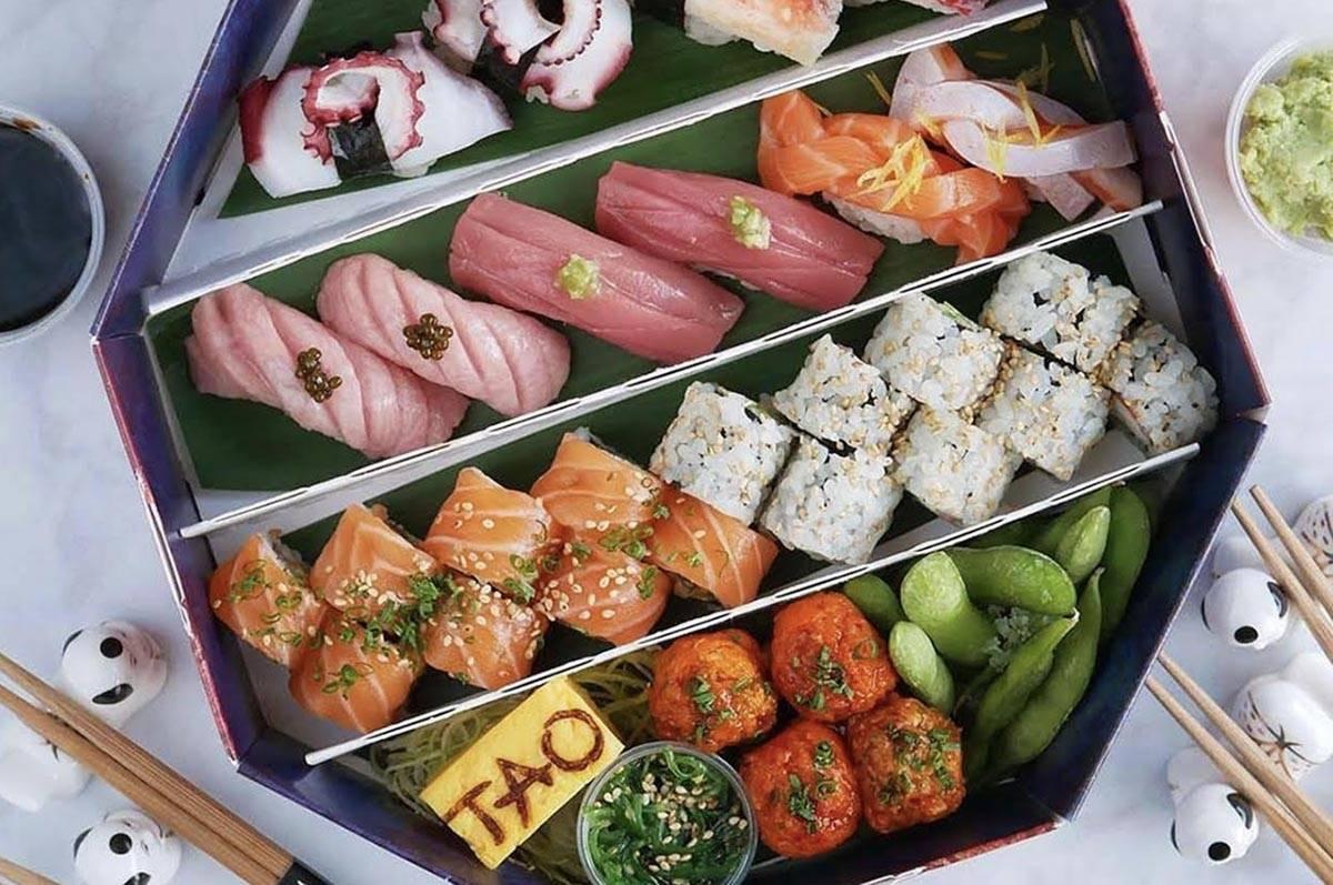 Sushi delivery box at Tao. (Tao)