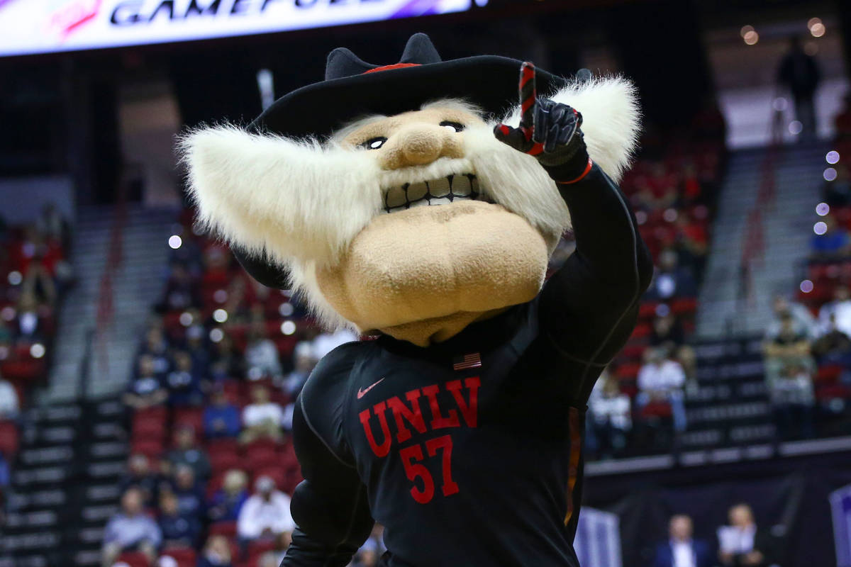 UNLV mascot Hey Reb! points to the crowd during the second half of a quarterfinal game against ...