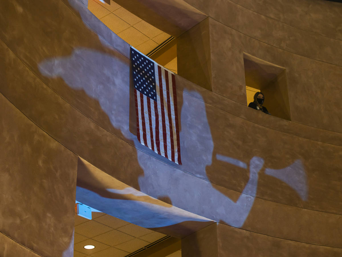 Projections of angels are beamed inside rotunda at the Clark County Government Center along wit ...