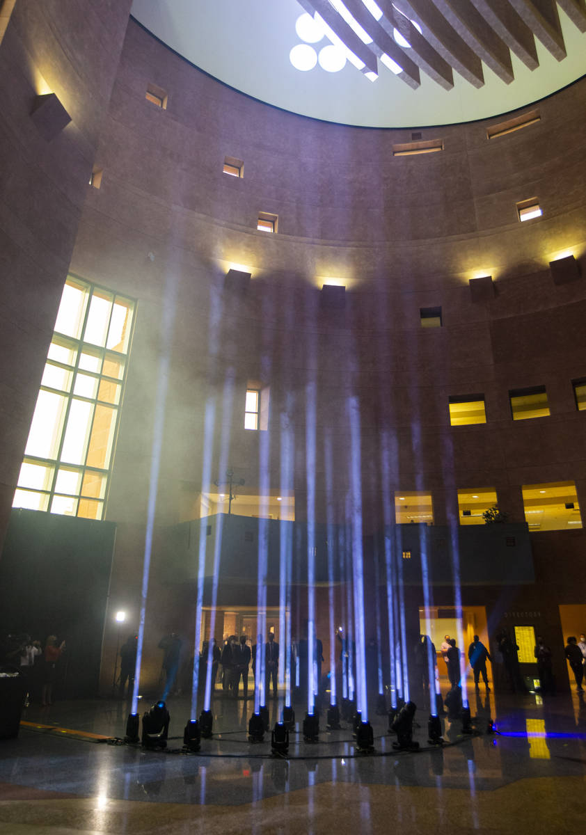 Twenty-nine lights illuminate the rotunda at the Clark County Government Center as part of a re ...