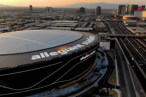 Aerial view of Allegiant Stadium and the Las Vegas Strip on Tuesday, August 25, 2020. (Michael ...