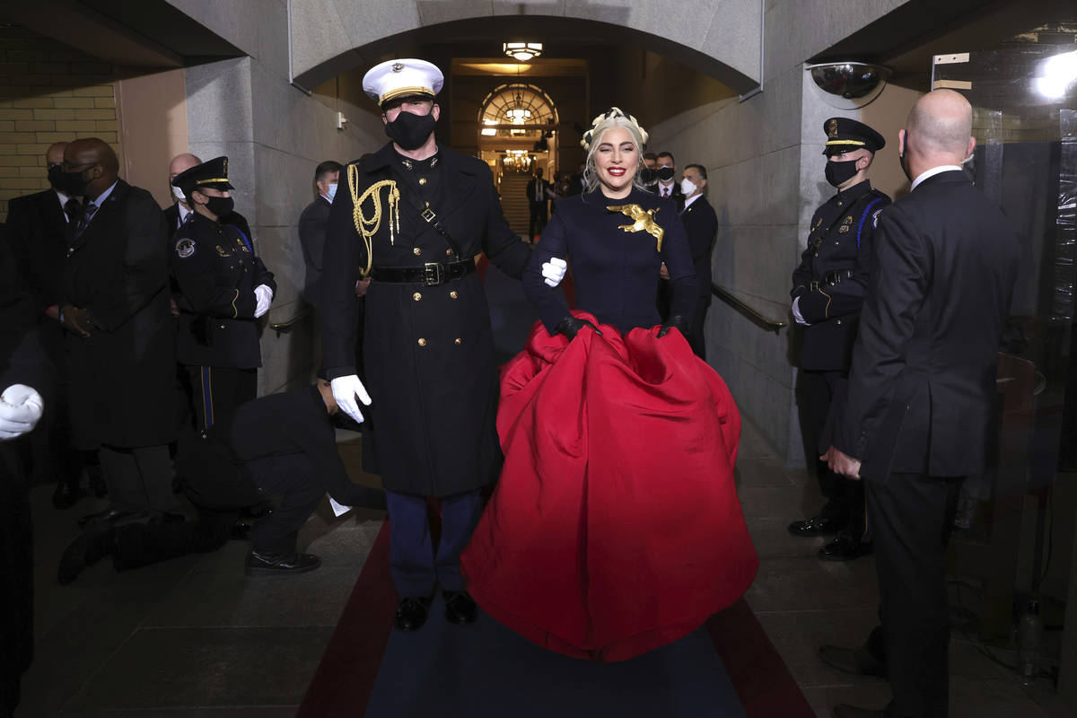 Lady Gaga arrives to sing the National Anthem at the inauguration of U.S. President-elect Joe B ...