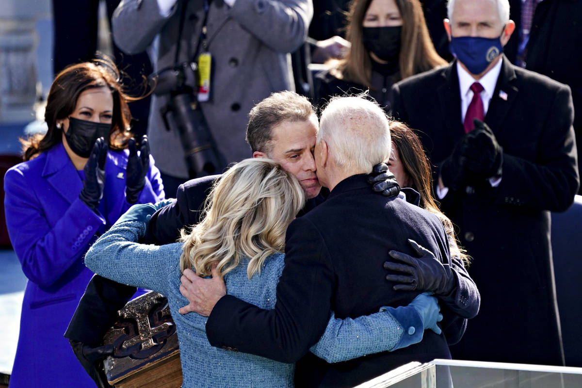 Vice President Kamala Harris and former Vice President Mike Pence applaud as U.S. President Joe ...