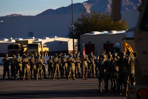 Members of the Nevada Army Guard on Thursday, Jan. 14, 2021, as they prepare to deploy to Washi ...