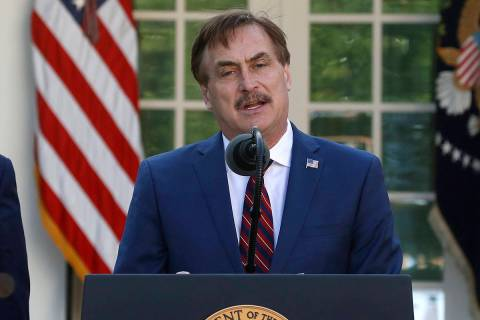 In this March 30, 2020 file photo, My Pillow CEO Mike Lindell speaks about the coronavirus in t ...