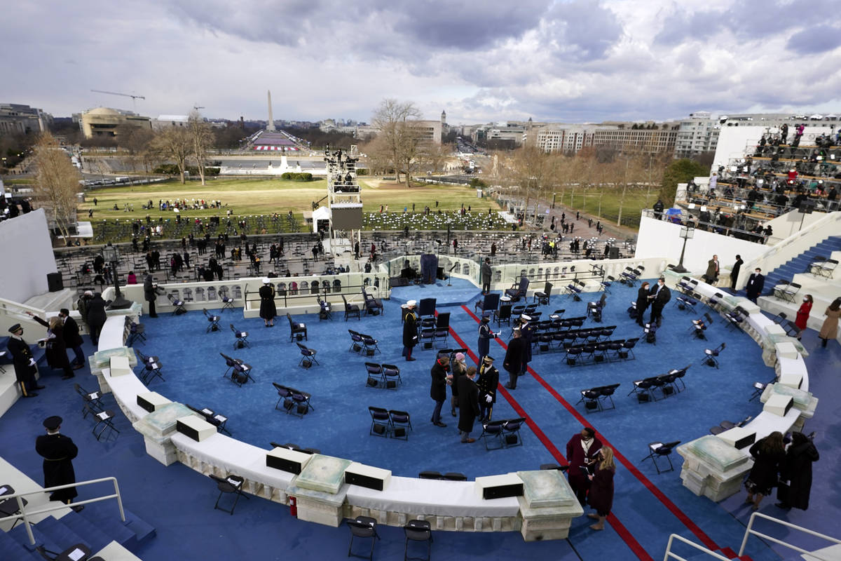 Final preparations are made on the platform ahead of President-elect Joe Biden being sworn-in d ...