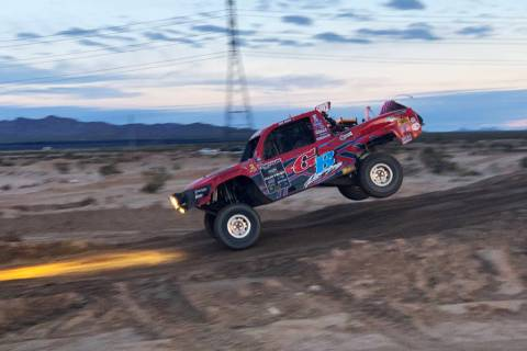 A driver in the Mint 400 is shown on Saturday, March 9, 2019, at Primm Valley Resort, outside L ...