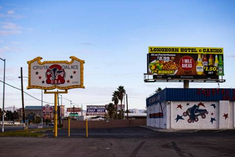 An exterior view of the Crystal Palace roller rink on Boulder Highway in Las Vegas on Wednesday ...
