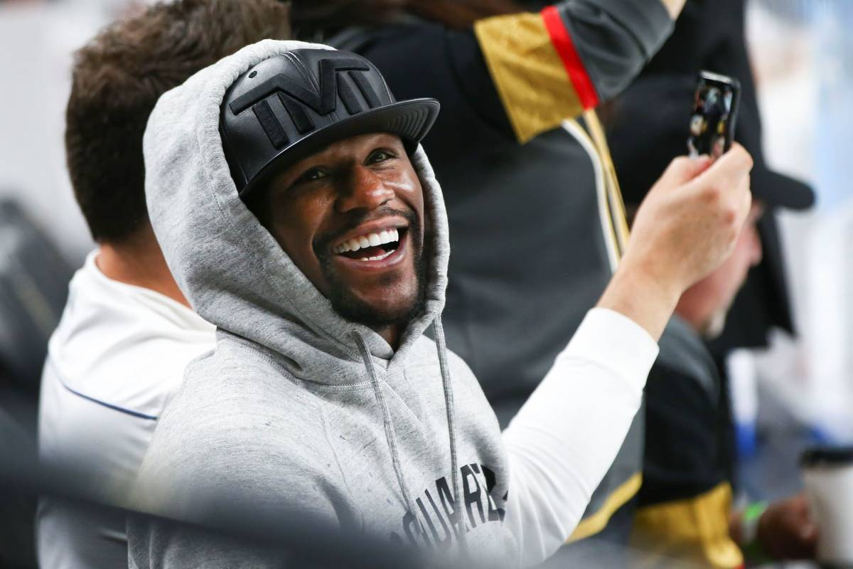 Floyd Mayweather attends Game 1 of the NHL hockey Stanley Cup Final between the Golden Knights ...