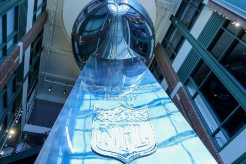A giant replica of the Vince Lombardi Trophy is on display at Lambeau Field in Green Bay, Wis., ...
