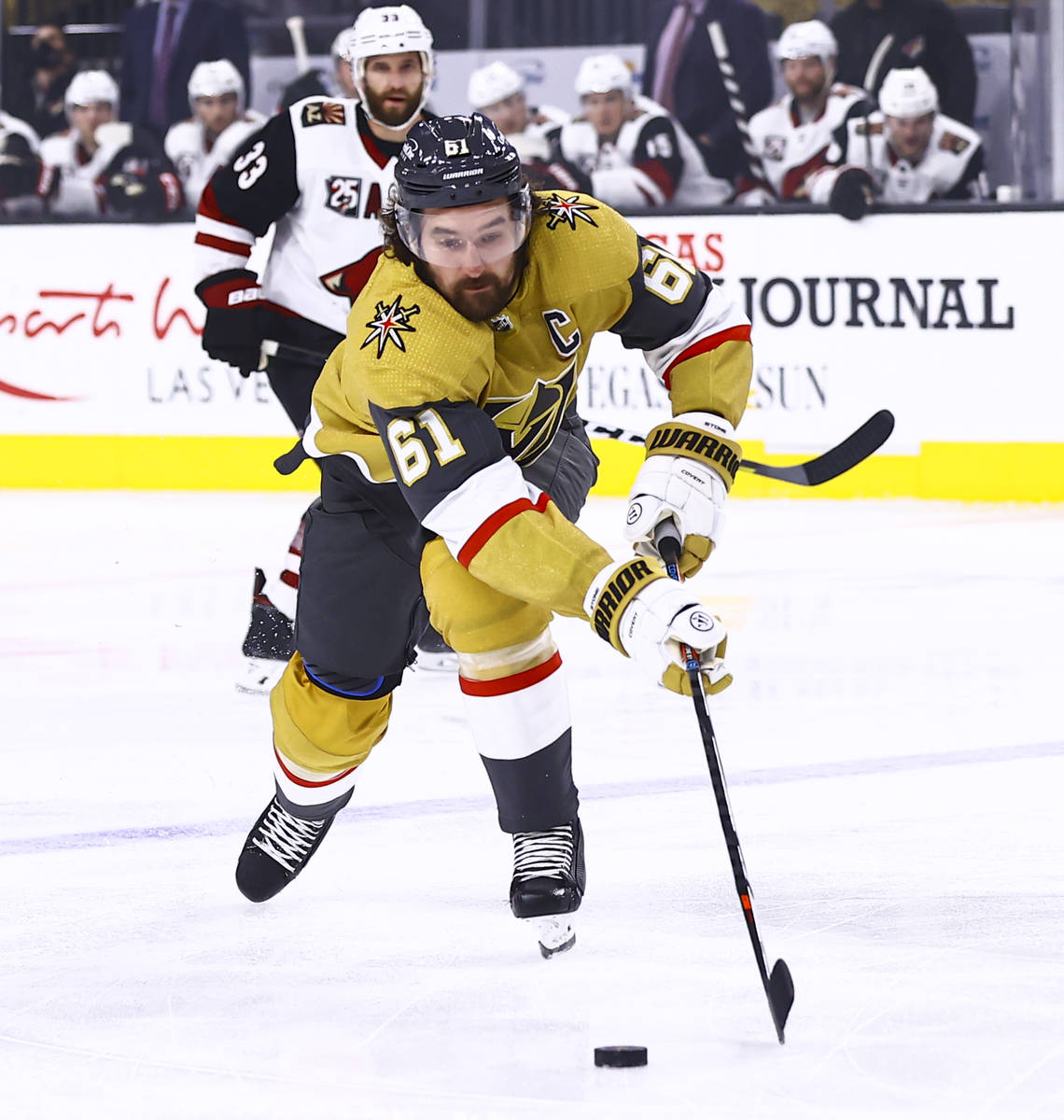 Golden Knights right wing Mark Stone (61) skates after the puck during the first period of an N ...