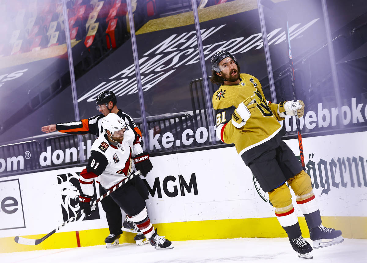 Golden Knights right wing Mark Stone (61) reacts after scoring a goal against the Arizona Coyot ...