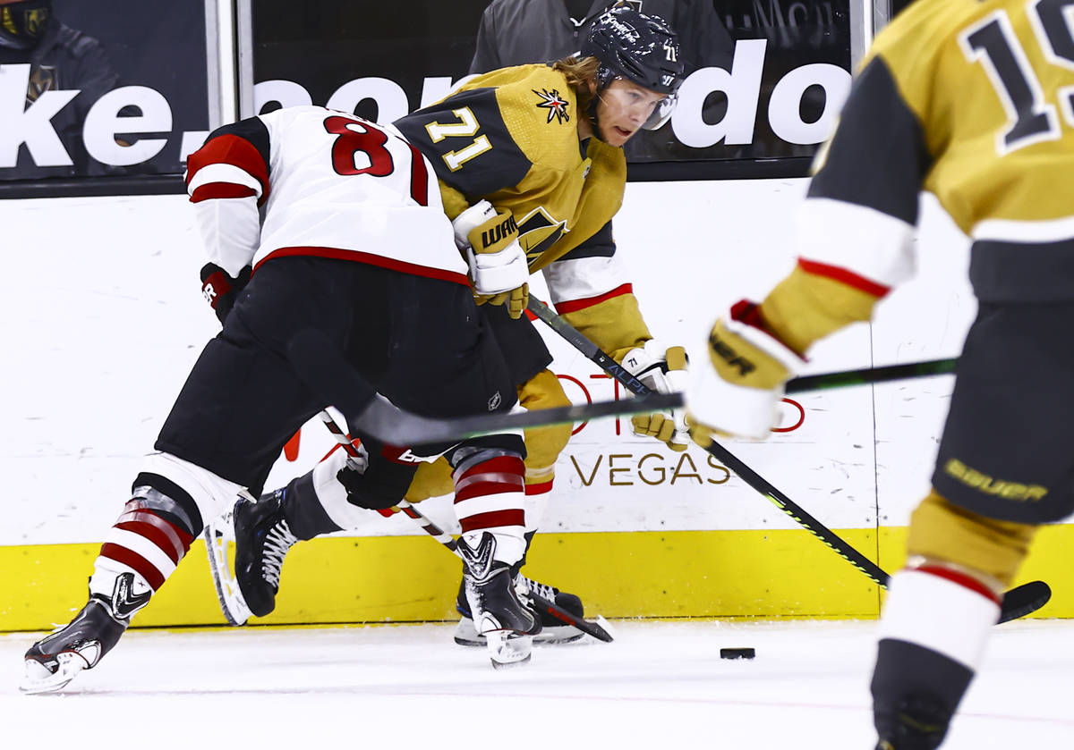 Golden Knights center William Karlsson (71) skates with the puck against Arizona Coyotes right ...