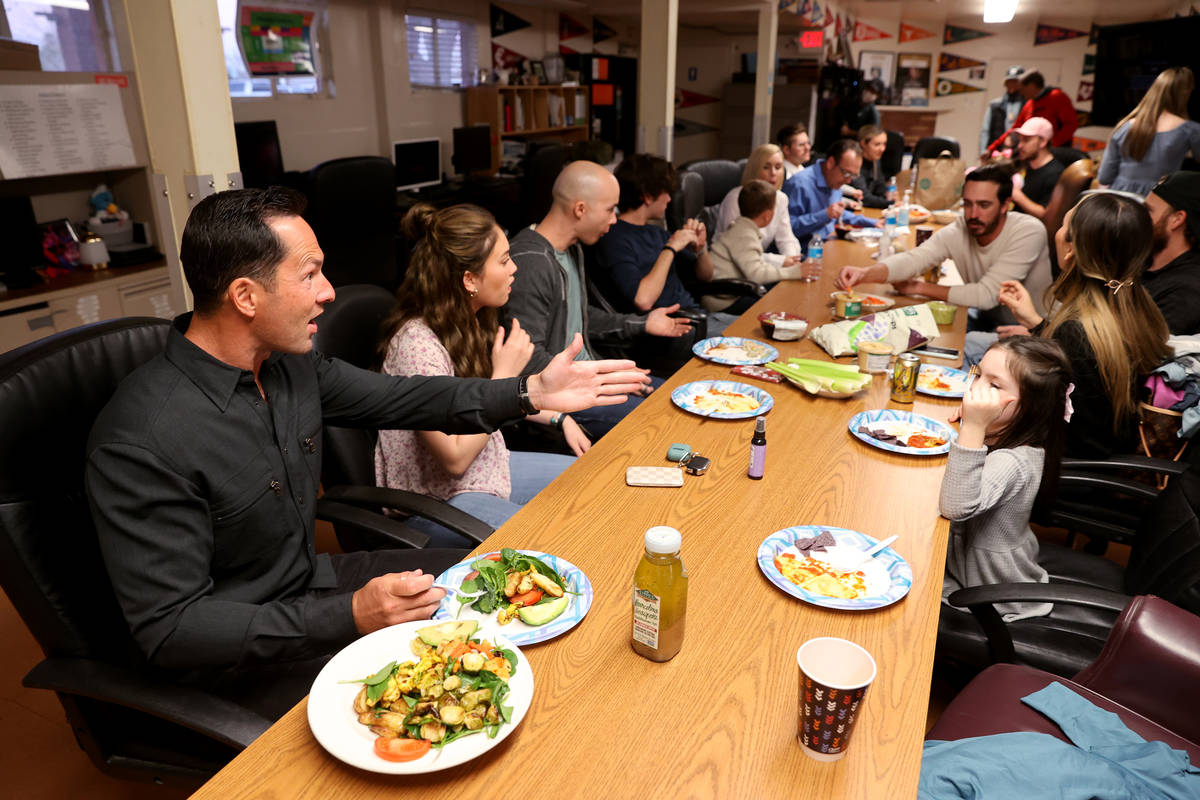 Kyle Kimoto, left, has dinner with his family at Jewel's Marty Hennessy Inspiring Children Foun ...