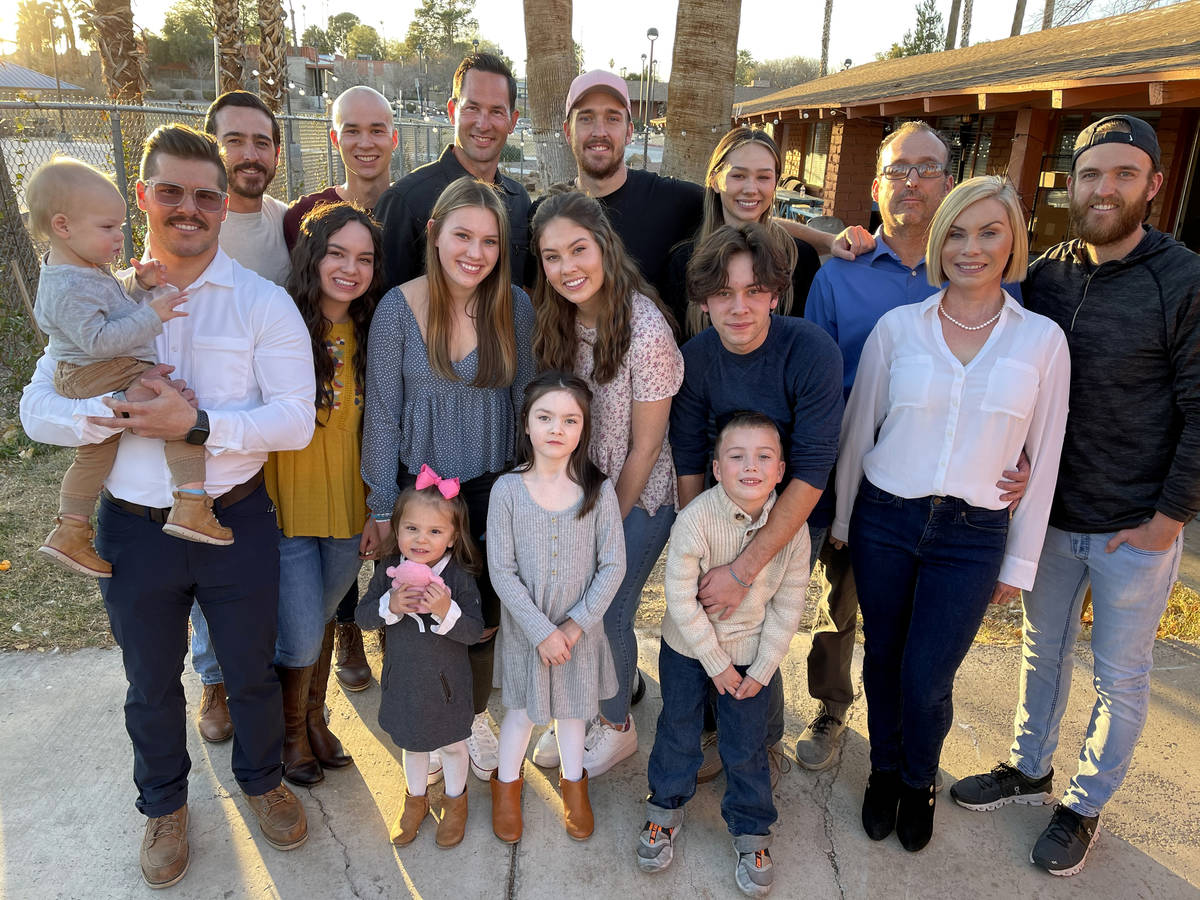 Kyle Kimoto, fourth from left rear, poses with his family at Jewel's Marty Hennessy Inspiring C ...