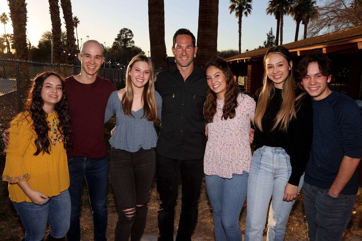 Kyle Kimoto, center, poses with his children, from left, Kiana Oswald, 23, Cole Kimoto, 24, Kai ...