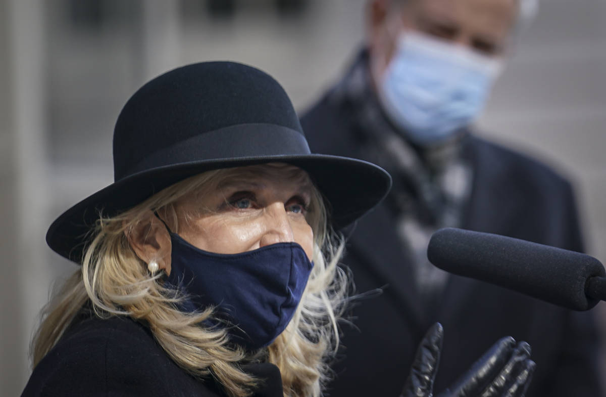 In this Jan. 9, 2021, file photo, Rep. Carolyn Maloney D-NY, left, speaks during a news confere ...