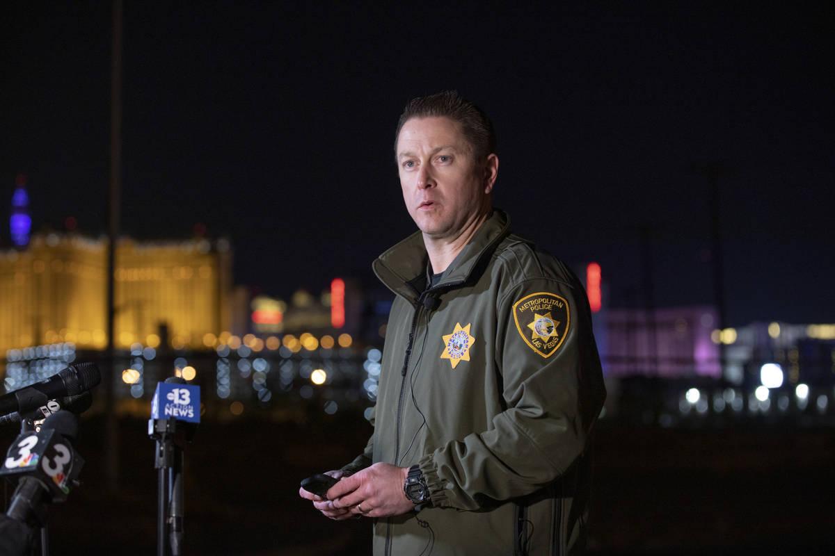 Las Vegas Metro Police Department Lt. Richard Meyers gives a media briefing regarding a double ...