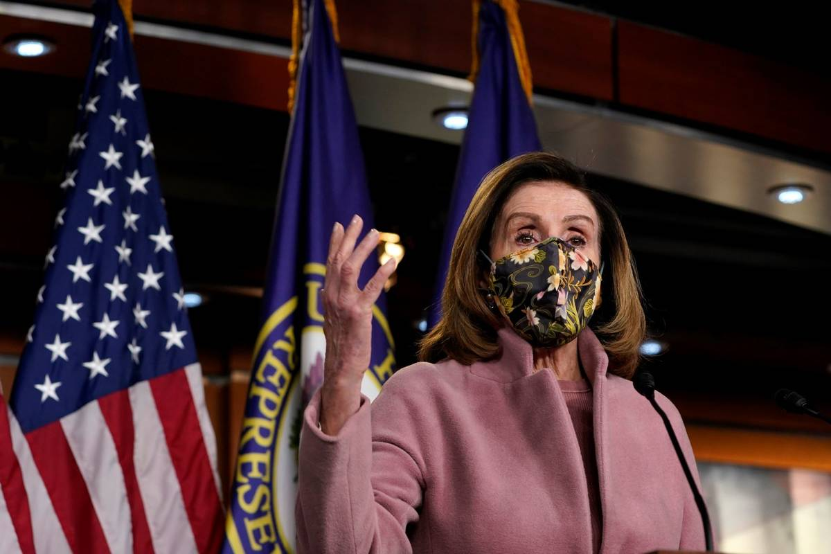 House Speaker Nancy Pelosi of Calif., speaks during a news conference on Capitol Hill in Washin ...