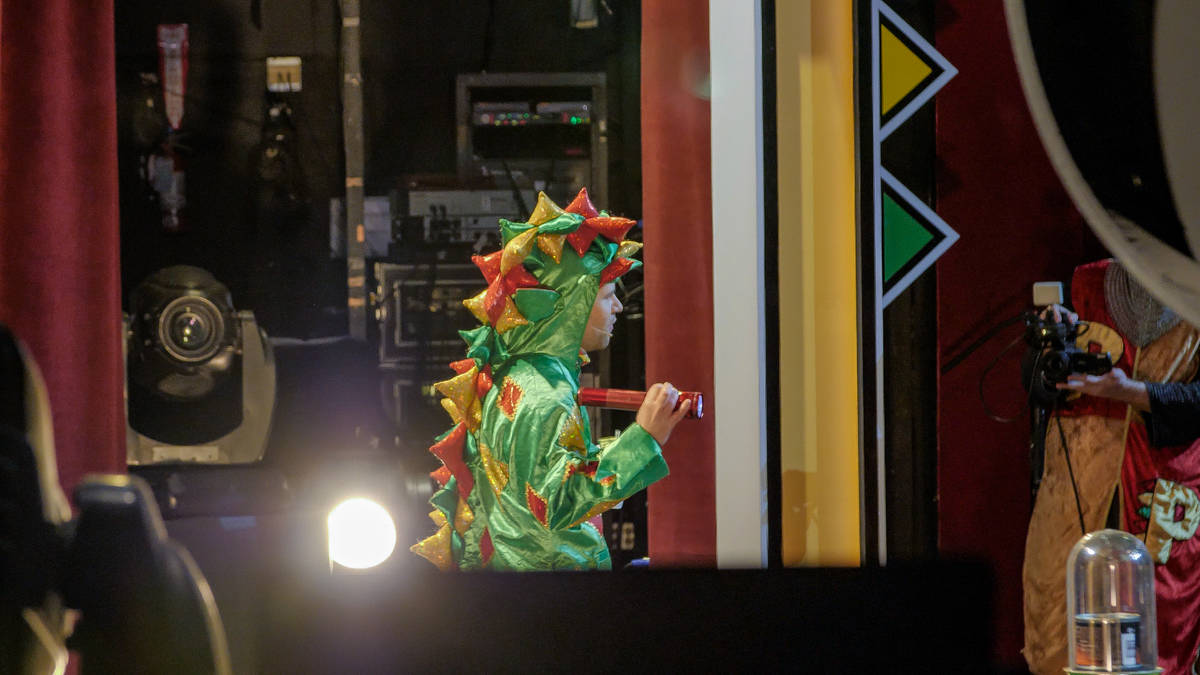 Piff The Magic Dragon (John van der Put) is shown onstage in his benefit show for Las Vegas fir ...