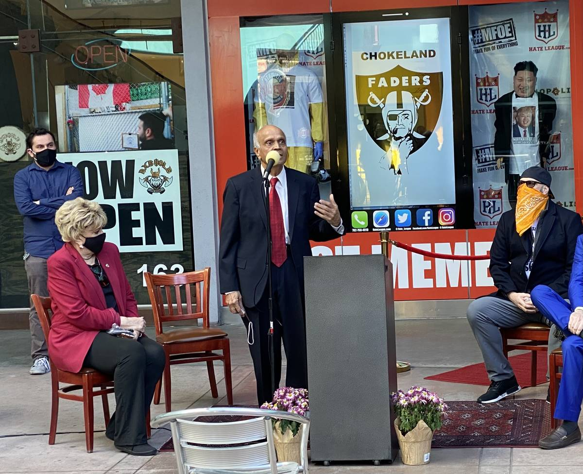 Las Vegas Mayor Carolyn Goodman, Neonopolis owner Rohit Joshi and Hate League owner Tim Tempas ...