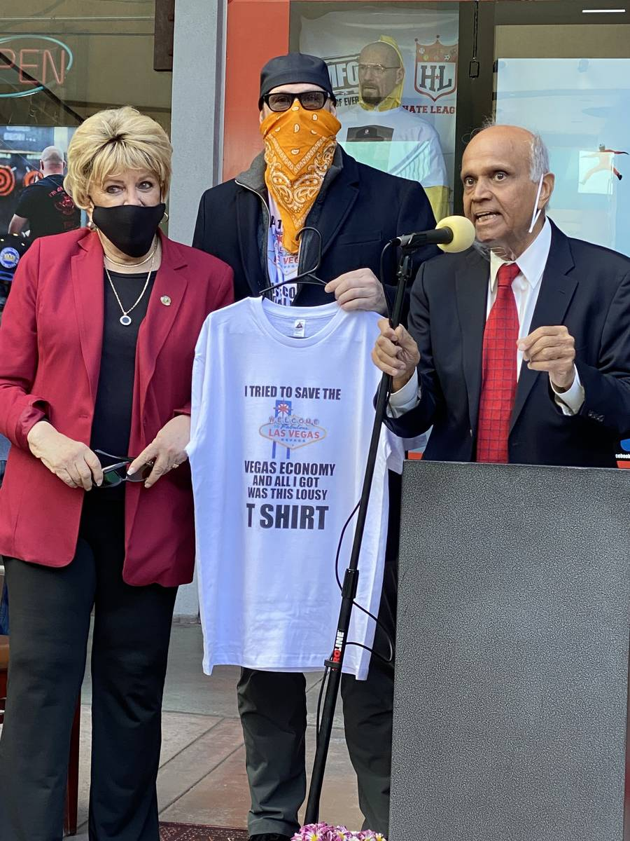 Las Vegas Mayor Carolyn Goodman, Hate League owner Tim Tempas and Neonopolis owner Rohit Joshi ...