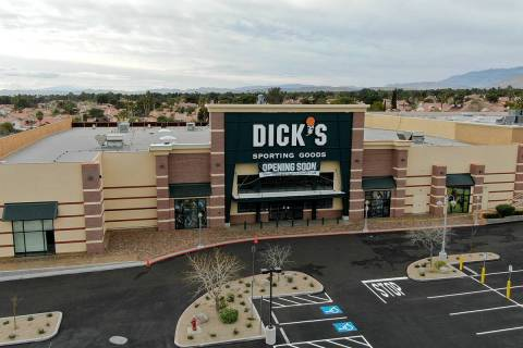 An aerial photo of Dick's Sporting Goods store at Crossroads Commons, a Las Vegas strip mall at ...
