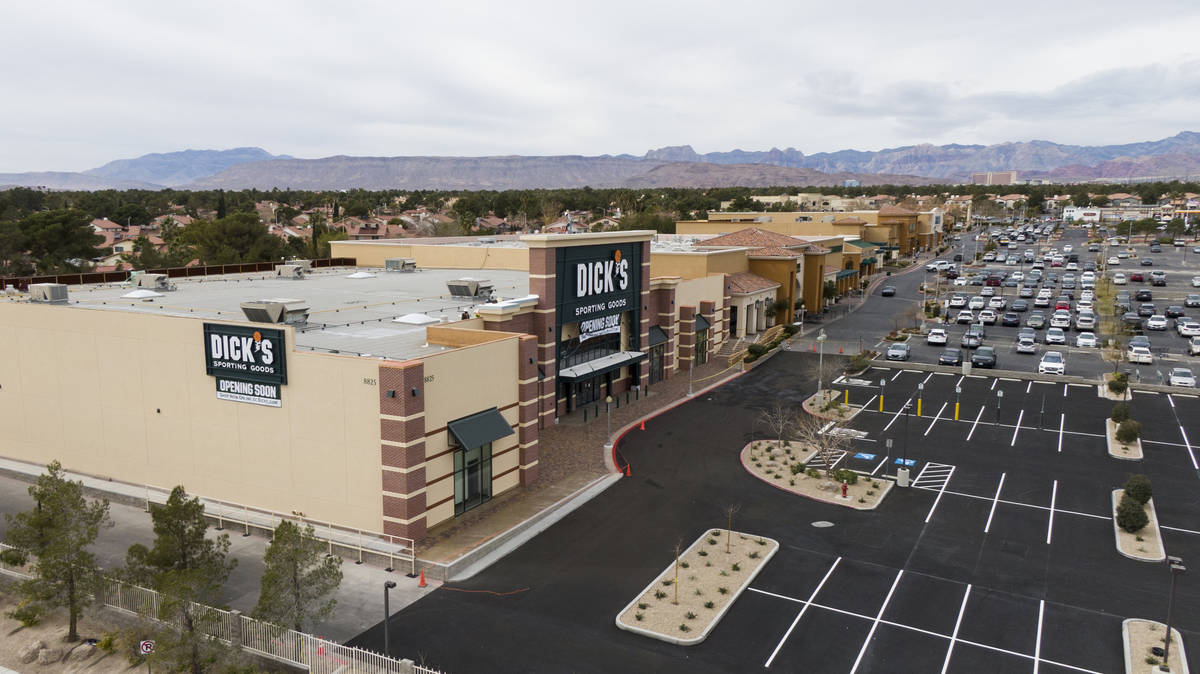 An aerial photo of Crossroads Commons, a Las Vegas strip mall at the southeast corner of Charle ...