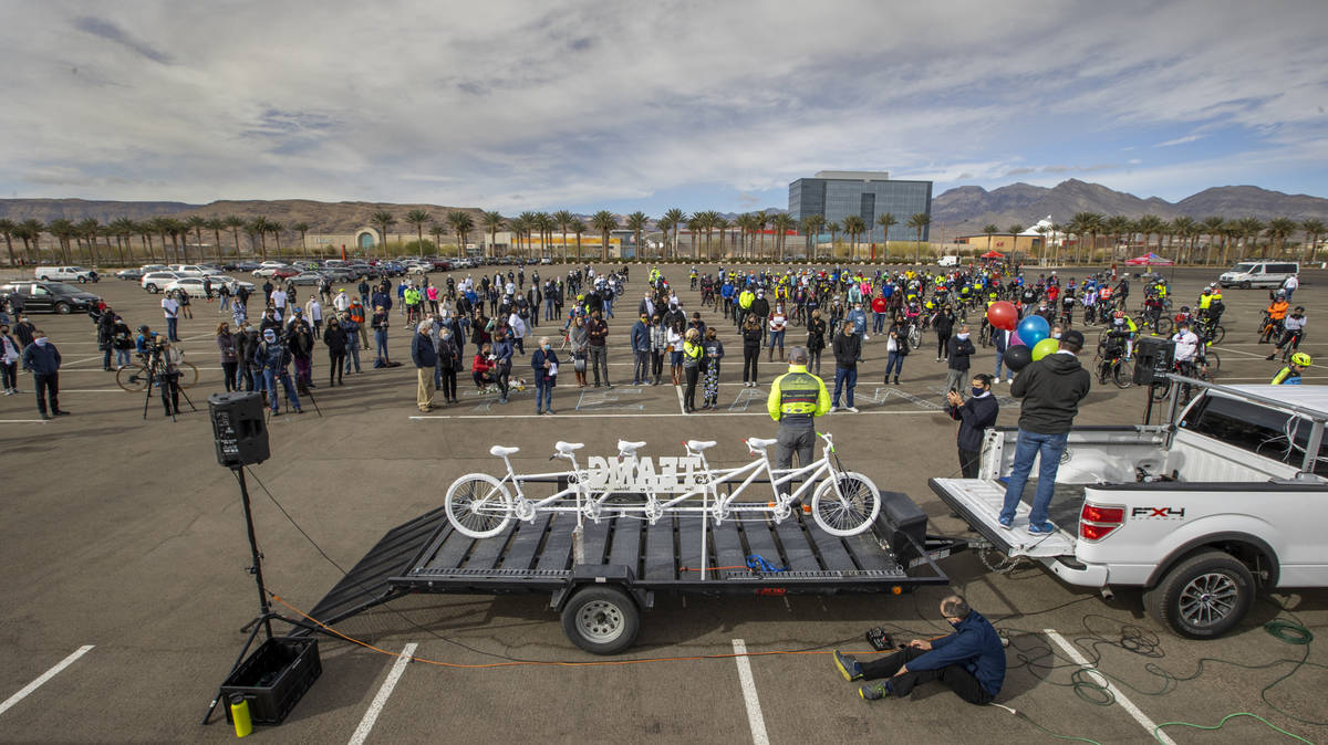 Mark Weimer with Breakaway Cycling addresses the crowd on hand during the LV5 Ghost Bike Unveil ...