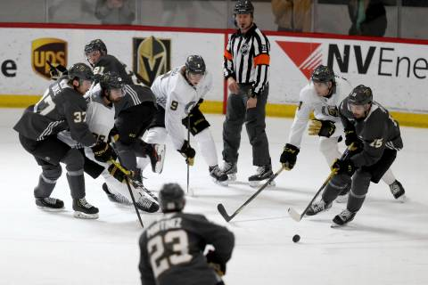 Vegas Golden Knights players, from left to right, forward Reid Duke (37), forward Alex Tuch (89 ...