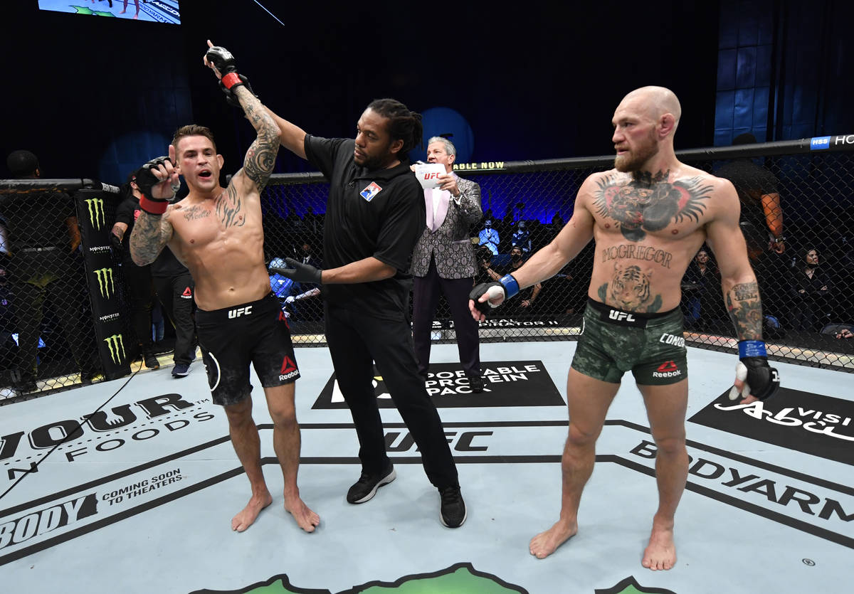 ABU DHABI, UNITED ARAB EMIRATES - JANUARY 23: Dustin Poirier reacts after his knockout victory ...