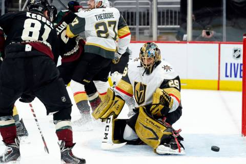 Vegas Golden Knights goaltender Marc-Andre Fleury makes the save on Vegas Arizona Coyotes right ...