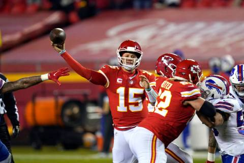 Kansas City Chiefs quarterback Patrick Mahomes throws a pass during the second half of the AFC ...