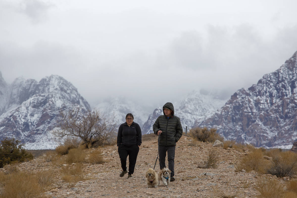 Leah Rivera, Richard Rivera and their two dogs, Mochi and Oakley, enjoy the winter weather at R ...